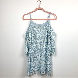 Heart loom Shoulderless Blue Lacey Layered Top